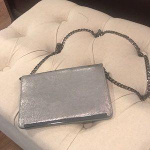 Silver clutch/shoulder bag